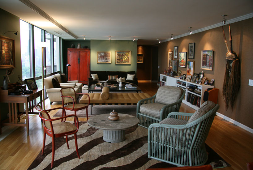 Lincoln Park Eclectic Living Room, Interior Design by Mia Rao Design