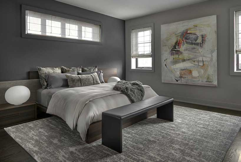 Penthouse Bedroom Rug, Interior Design by Mia Rao Design