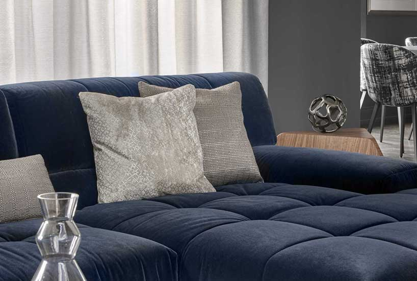 Penthouse Blue Sofa, Interior Design by Mia Rao Design
