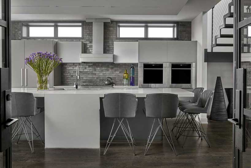 Penthouse Kitchen Island, Interior Design by Mia Rao Design