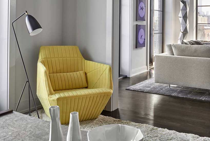 Penthouse Yellow Corner Chair