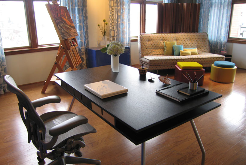 San Diego Loft Office Desk, Interior Design by Mia Rao Design