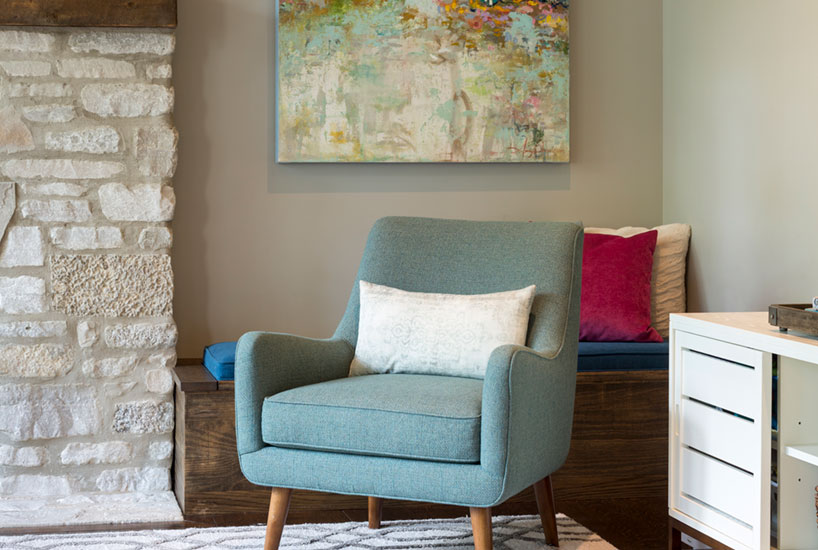 Rustic Modern Living Room Chair, Interior Design by Mia Rao Design