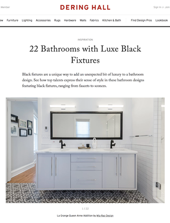 Mia Rao Interior Design in Dering Hall 22 Bathrooms with Luxe Black Fixtures Feature