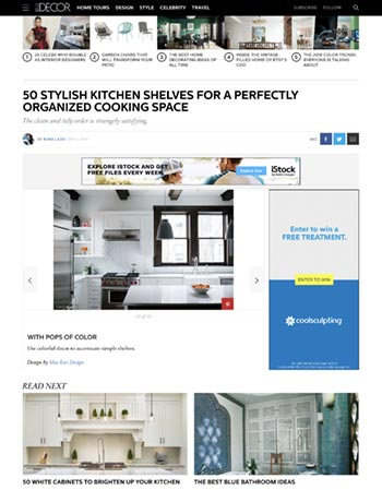 Mia Rao Interior Design in Elle Decor 50 Stylish Kitchen Shelves For A Perfectly Organized Cooking Space Feature